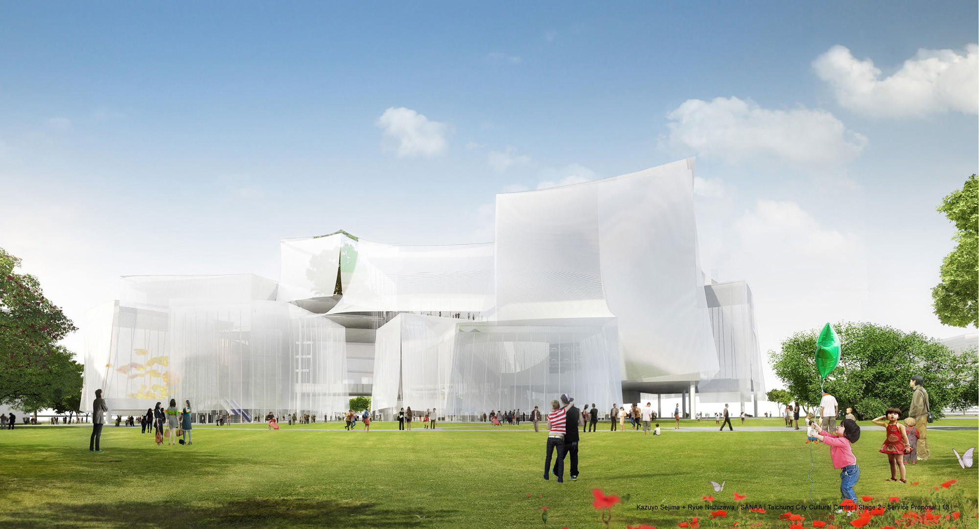 SANAA's 'Cloud Boxes' Wins First Prize in Taichung City Competition, First Prize. Image Courtesy of SANAA via Taichung City Cultural Center