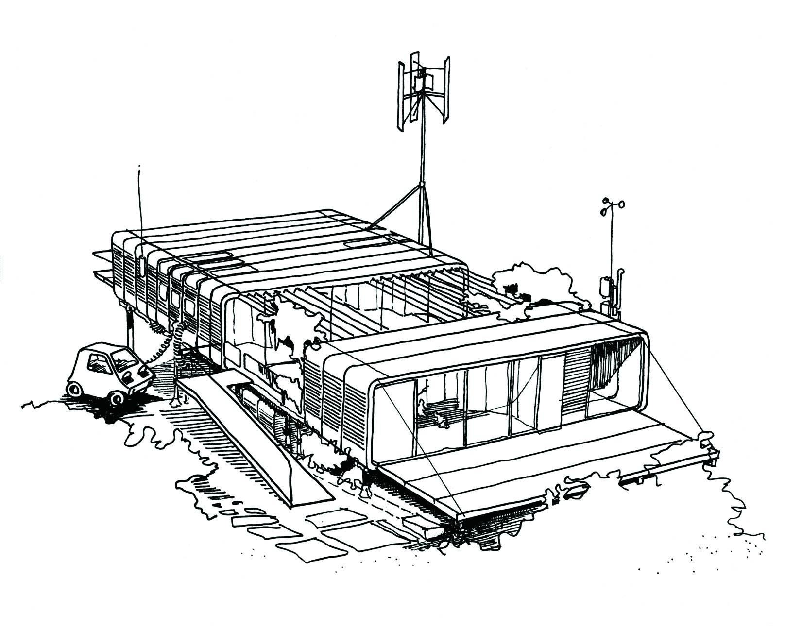 Review: 'Richard Rogers: Inside Out' at the Royal Academy, Zip-Up House Concept drawing (1968) - courtesy of Rogers Stirk Harbour + Partners. Image © Richard and Su Rogers
