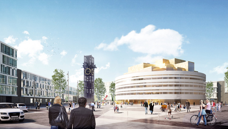 Kiruna City Hall / Henning Larsen Architects, View from Station. Image Courtesy of Henning Larsen Architects