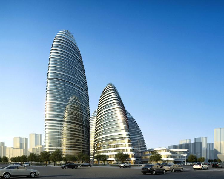 Questão dos direitos autorais na Arquitetura e Urbanismo é abordada pelo CAU/BR, Wangjing SOHO, por Zaha Hadid Architects, está sendo construído em Pequim e, simultaneamente, copiado em Chongqing, China . Image Cortesia de © ZHA