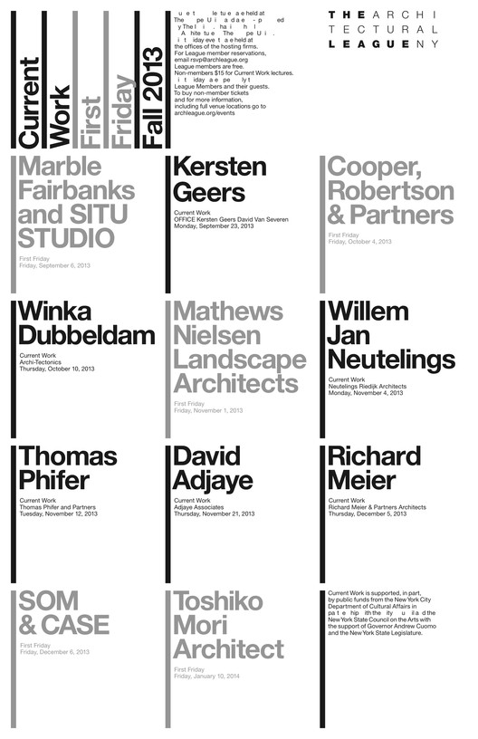 The Architectural League Announces the Current Work Fall 2013 Program