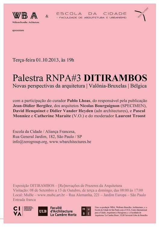Palestra RNPA#3 DITIRAMBOS na Escola da Cidade
