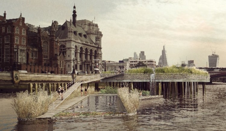 Reconectando os londrinos ao Rio Tâmisa, The Thames Baths Project. Image © Studio Octopi / Civic Engineers / Jonathan Cook Landscape