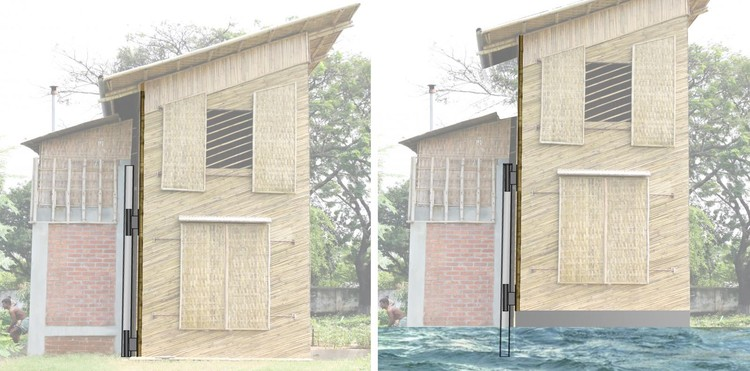Casa de bambu em Bangladesh flutua em caso de inundações, © Prithula Prosun