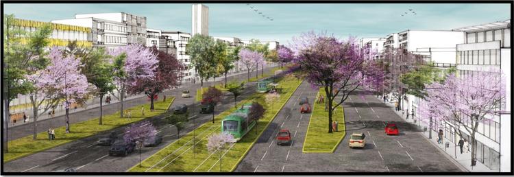 O Distrito Central Zapopan: Um novo polo de desenvolvimento sustentável na Região Metropolitana de Guadalajara, Imagem do projeto: densificação do corredor Tesistán (Fonte Plan Maestro Distrito Central Zapopan)