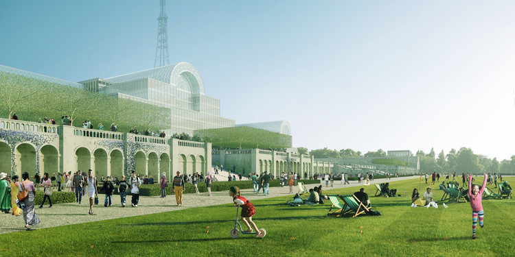 Revelados os planos de reconstrução do Palácio de Cristal em Londres, Terrace view . Image Courtesy of ZhongRong Group