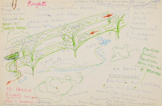 Desenho de Lina Bo Bardi para o Anhangabaú, 1981. Image Courtesy of Instituto Lina Bo e P.M. Bardi