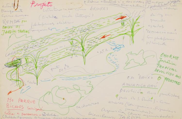 """Exposição """"Anhangabaú: jardim tropical"""", Desenho de Lina Bo Bardi para o Anhangabaú, 1981. Image via Instituto Lina Bo e P.M. Bardi"""