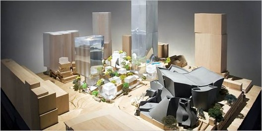 Gehry's original scheme for Los Angeles' Grand Avenue. Image © KCRW