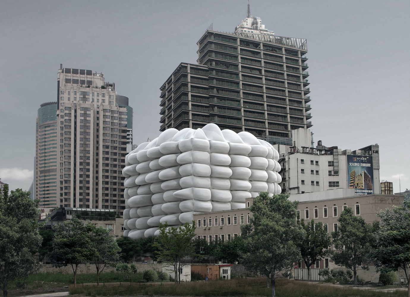 Bubble Building / 3GATTI Architecture Studio, Skyline View. Image Courtesy of 3GATTI