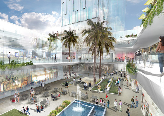 Related Cos. rendering of a conceptual plan for a retail and residential complex across Grand Avenue. Image Courtesy of Related Cos., via LA Times