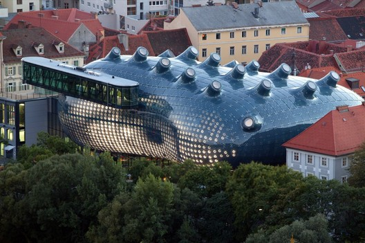 BIX Communicative Display Skin for the Kunsthaus Graz, 2003; View from Schlossberg. Image © Harry Schiffer / realities:united