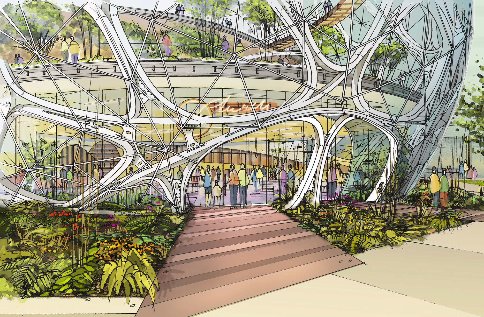 Amazon S Nbbj Designed Biodome Approved By Seattle Design Board on Square Office Building Floor Plan