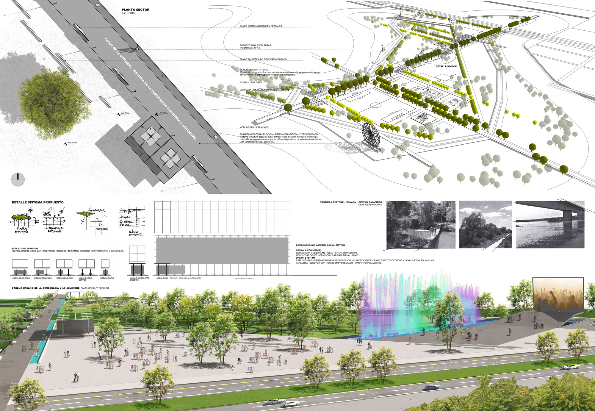 """Se construirá el parque urbano más grande de la provincia del Chaco: Primer Lugar Parque Urbano """"Inundable"""" de la Democracia y la Juventud , Courtesy of ARQOM® industria creativa"""