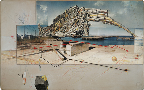 Exhibition: Lebbeus Woods, Architect, Lebbeus Woods, San Francisco Project: Inhabiting the Quake, Quake City, 1995; graphite and pastel on paper; 14 1/2 in. x 23 in. x 3/4 in. (36.83 cm x 58.42 cm x 1.91 cm); Collection SFMOMA, Accessions Committee Fund purchase; © Estate of Lebbeus Woods