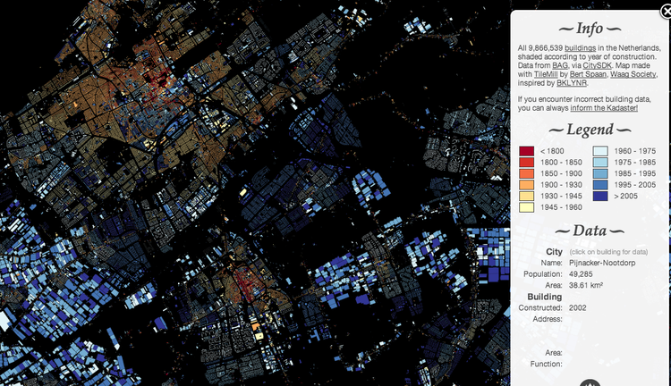 Impressionante mapa da evolução das construções em Amsterdã, Mapa de Amsterdã