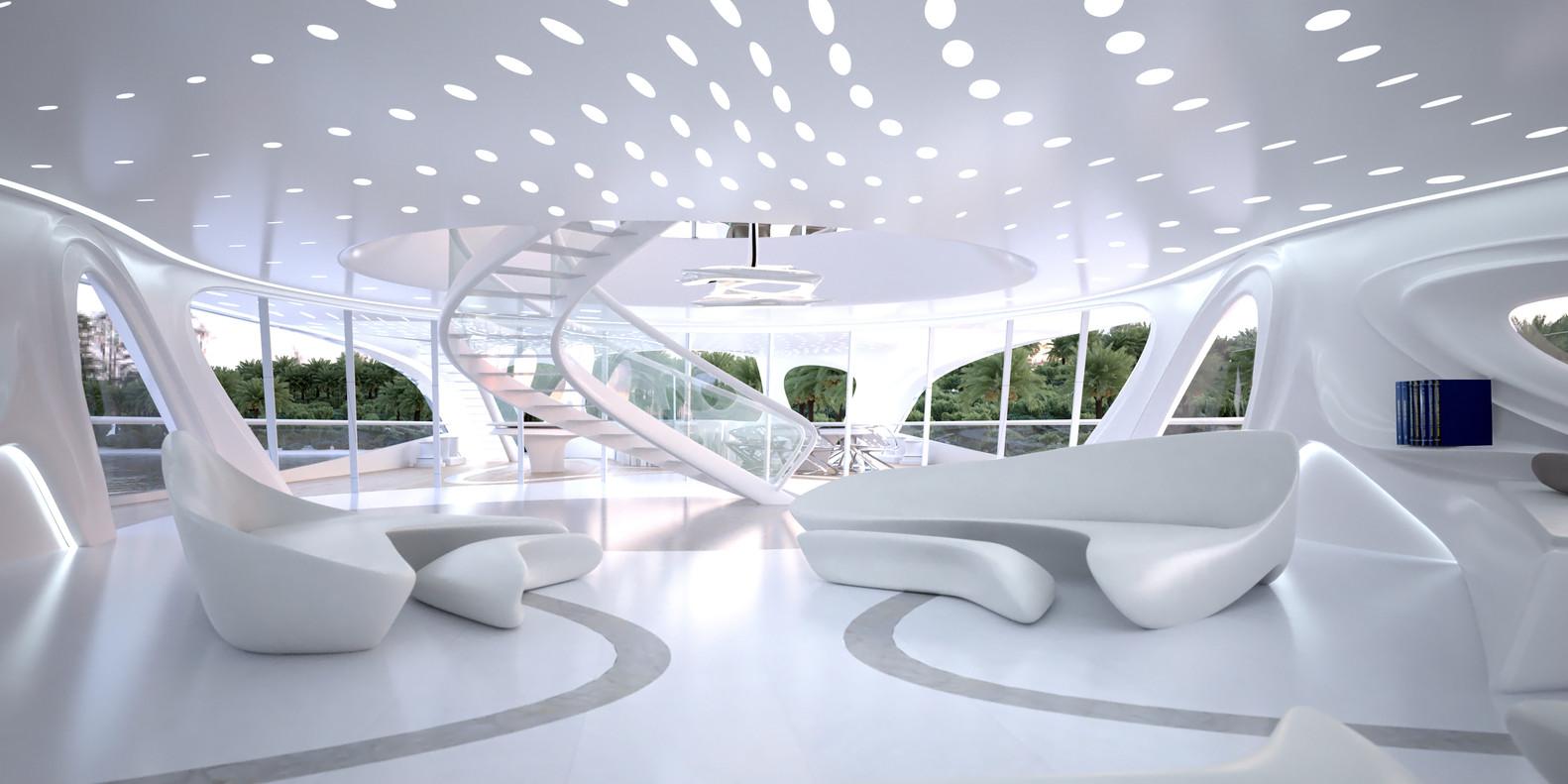 Delightful Zaha Hadid Designs Superyacht,© Unique Circle Yachts / Zaha Hadid  Architects For Bloom+