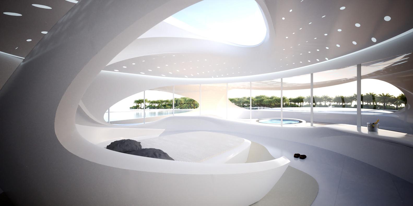 Captivating Zaha Hadid Designs Superyacht,© Unique Circle Yachts / Zaha Hadid  Architects For Bloom+