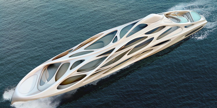 Zaha Hadid Designs Superyacht, © Unique Circle Yachts / Zaha Hadid Architects for Bloom+Voss Shipyards