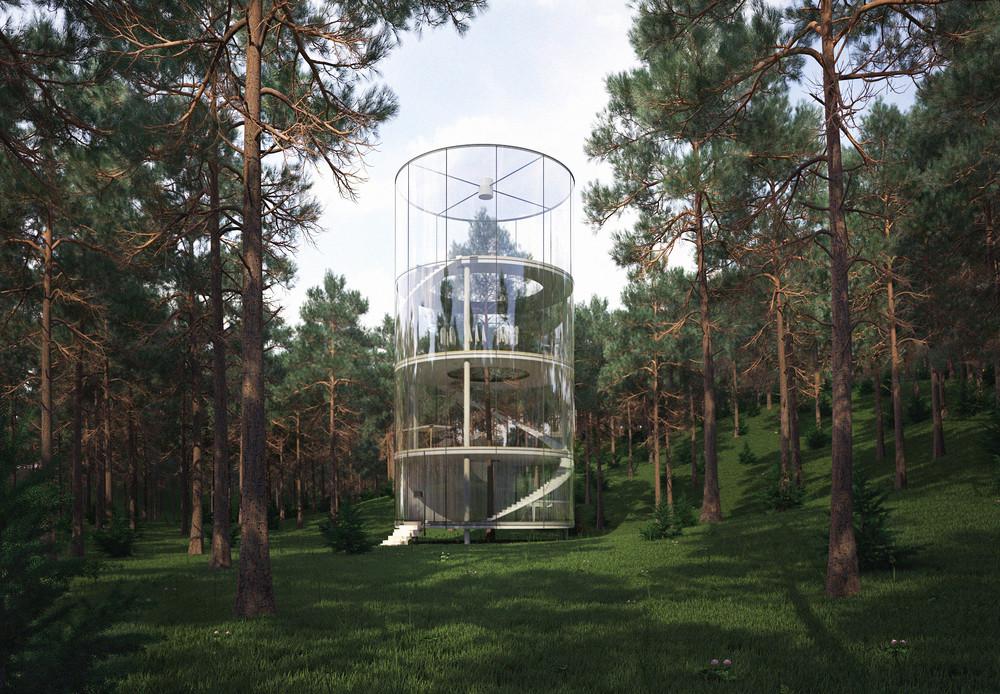"""Proyecto """"Tree in the House"""": una casa de vidrio que cede su intimidad en favor de una experiencia única, © A.Masow"""