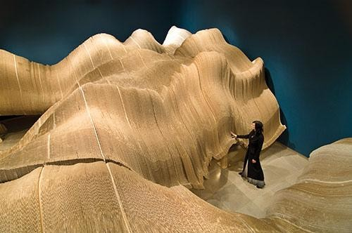 Almost Anything Goes: Architecture and Inclusivity , Ball-Nogues Studio, Rip Curl Canyon, 2006, Cardboard, plywood, screws, and hardware, 44 x 40 x 11 ft., Commissioned by Rice Gallery in collaboration with The Museum of Fine Arts, Houston, TX, Courtesy the Artists. Photo: Nash Baker
