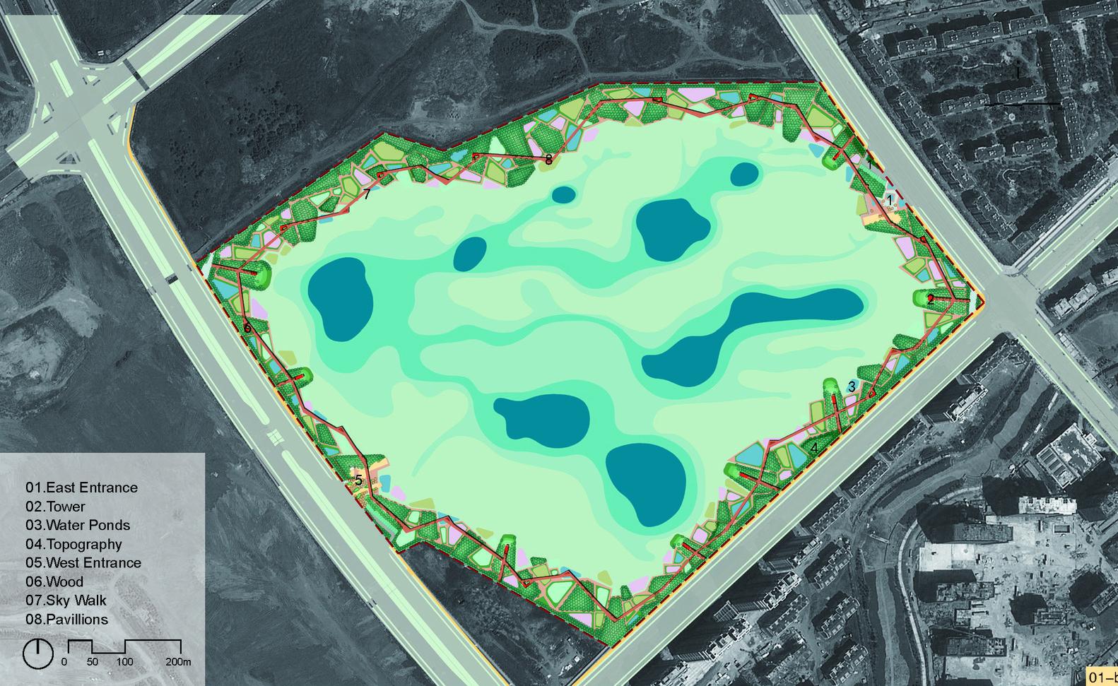 Qunli, Parque de Humedales y Aguas-Lluvias / Turenscape,Plan Maestro
