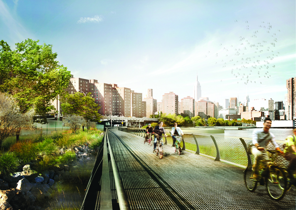 Green Infrastructure: Not Enough For Storm Protection, WXY Studio's East River Blueway Plan. Image Courtesy of WXY Studio