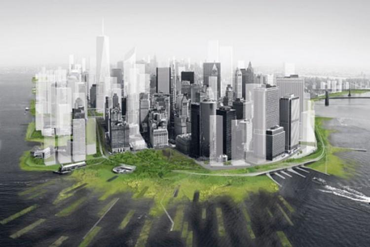 Como projetar para situações de desastres , Architecture Research Office e dlandstudio propuseram zonas de retenção de água em Lower Manhattan para lidar com futuras tempestades. Cortesia de Architecture Research Office e dlandstudio
