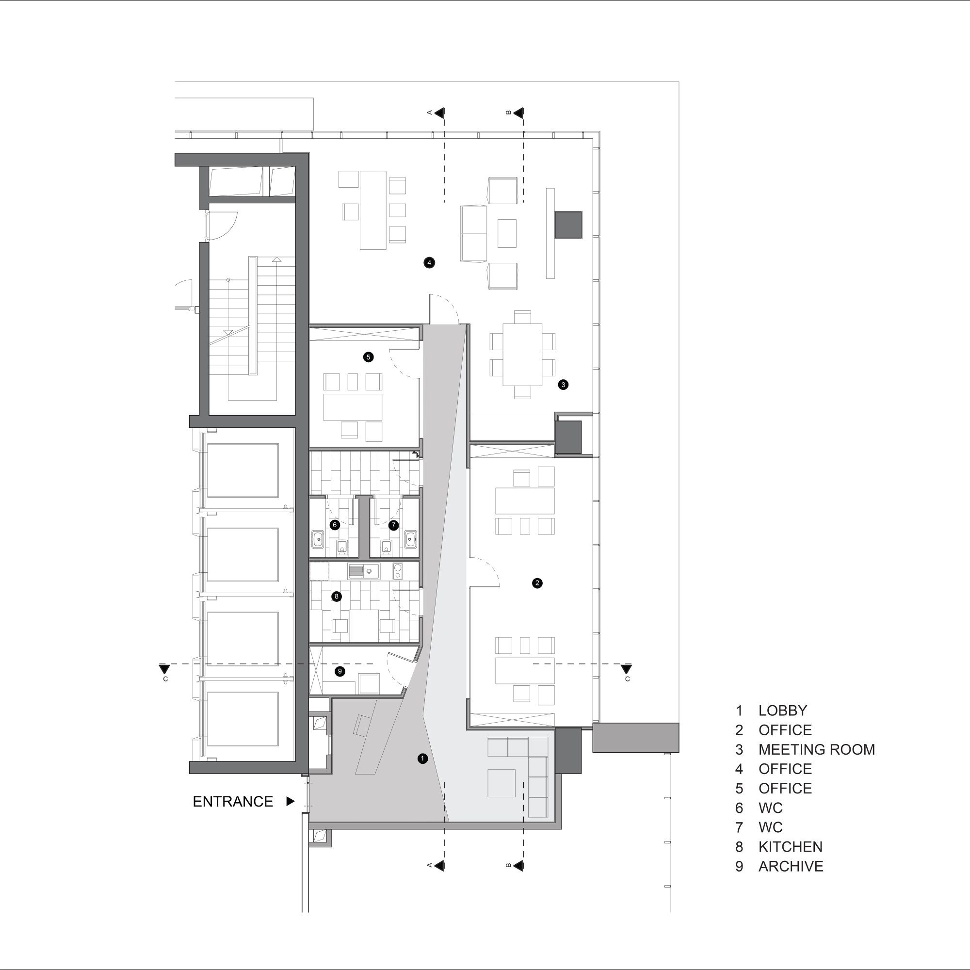Gallery of cthb law office salon architects 12 for House plans with separate office entrance