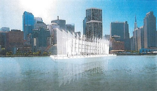 "Gensler, LOT-EK to Design Google's Showroom of Floating Shipping Containers , Artist's rendering of the ""Google Barge"". Image Courtesy of The Verge"