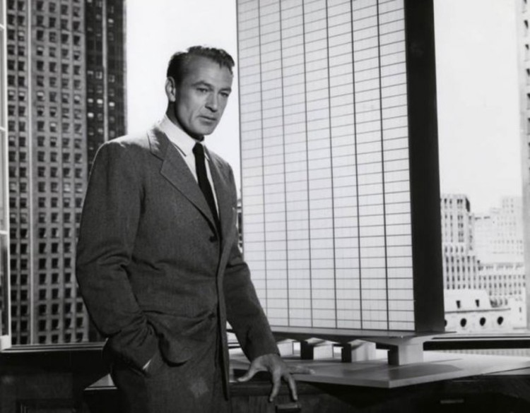 The Fountainhead: tudo o que há de errado na arquitetura, Gary Cooper como Howard Roark numa daptação de The Fountainhead. King Vidor, The Fountainhead (Warner Brothers, 1949). Cortesia de Metropolis Magazine