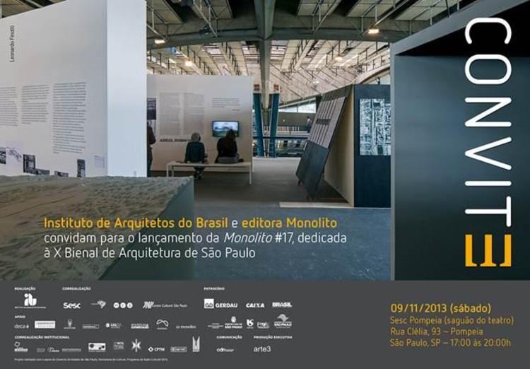 Instituto de Arquitetos do Brasil (IAB) e Editora Monolito lançam publicação dedicada à X Bienal de Arquitetura de São Paulo, Cortesia de X Bienal de Arquitetura de São Paulo