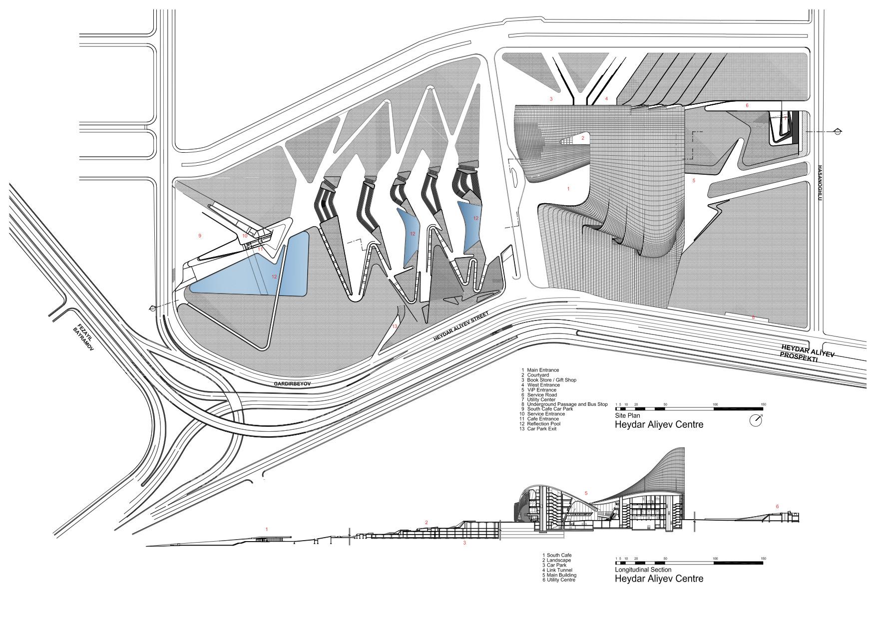5285282ae8e44e222500015a Heydar Aliyev Center Zaha Hadid Architects Site Plan Plus Section on Katsura Imperial Villa Plan View