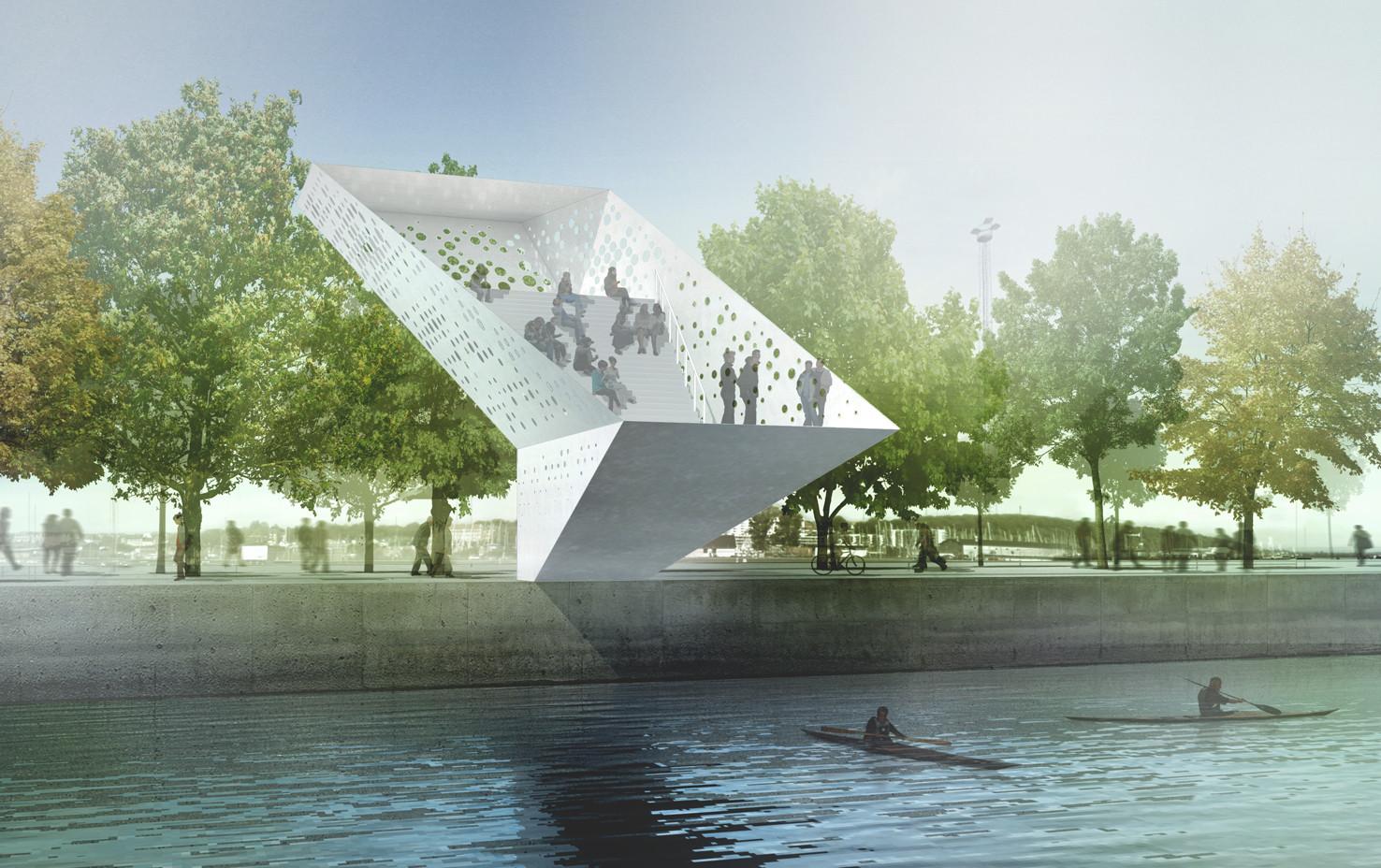 Dorte Mandrup Arkitekter Wins Competition to Design Landmark for Aarhus Harbour, Visualization. Image © Dorte Mandrup Arkitekter