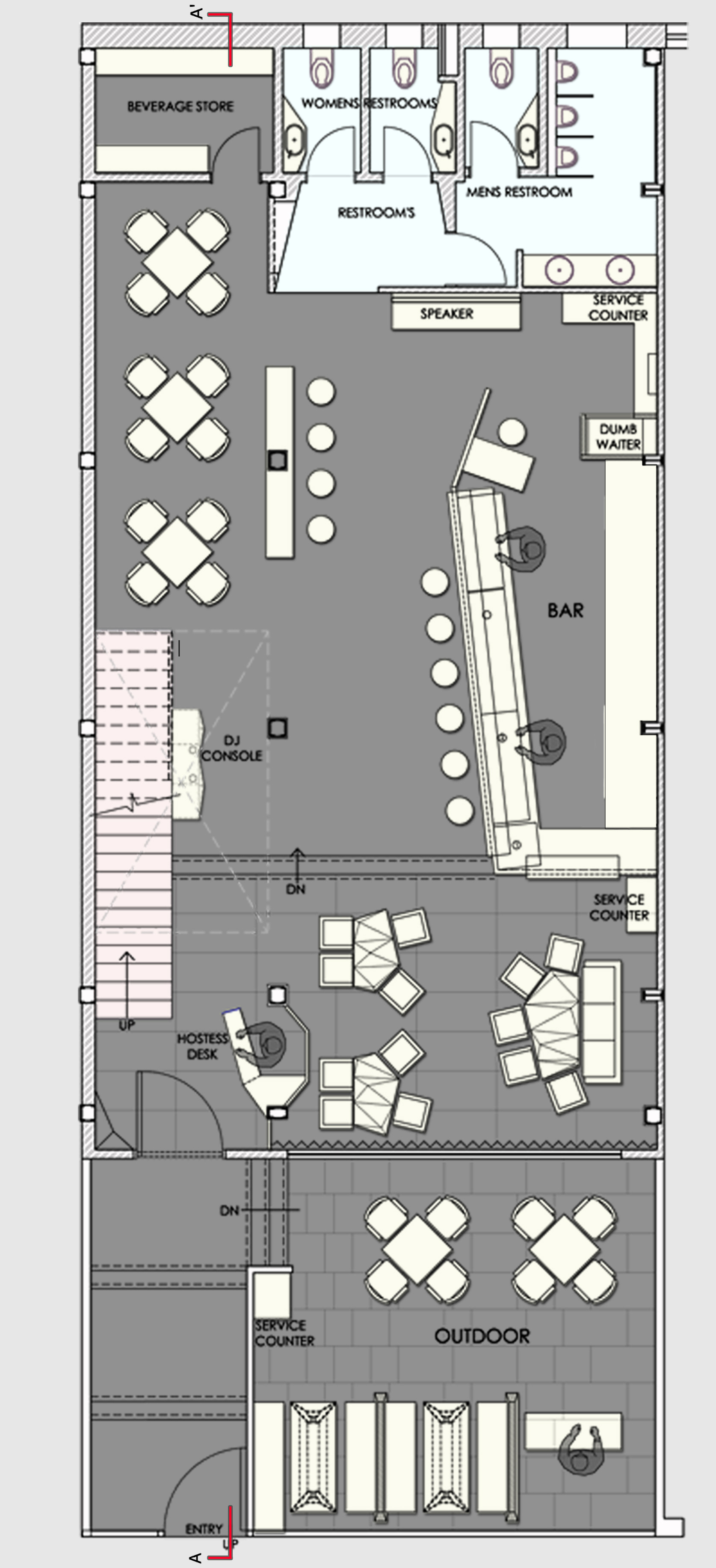 Gallery of auriga restaurant sanjay puri 14 for Restaurant drawings floor plans