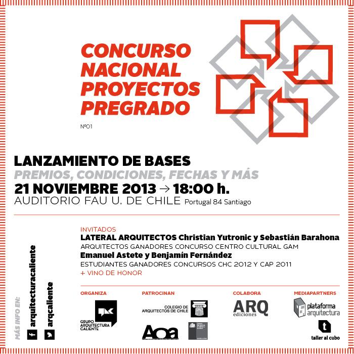 """Lanzamiento de la primera versión del """"Concurso Nacional Proyectos de Pregrado CNPP"""", Courtesy of Arquitectura Caliente"""