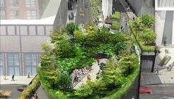 """""""Estrutura imersiva em forma de taça """" proposta para o acesso da última etapa do High Line"""