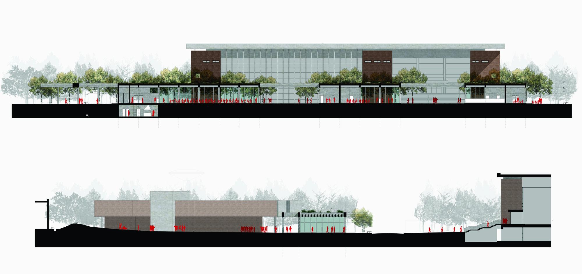 Primer lugar concurso para el master plan campus for Cortes arquitectonicos