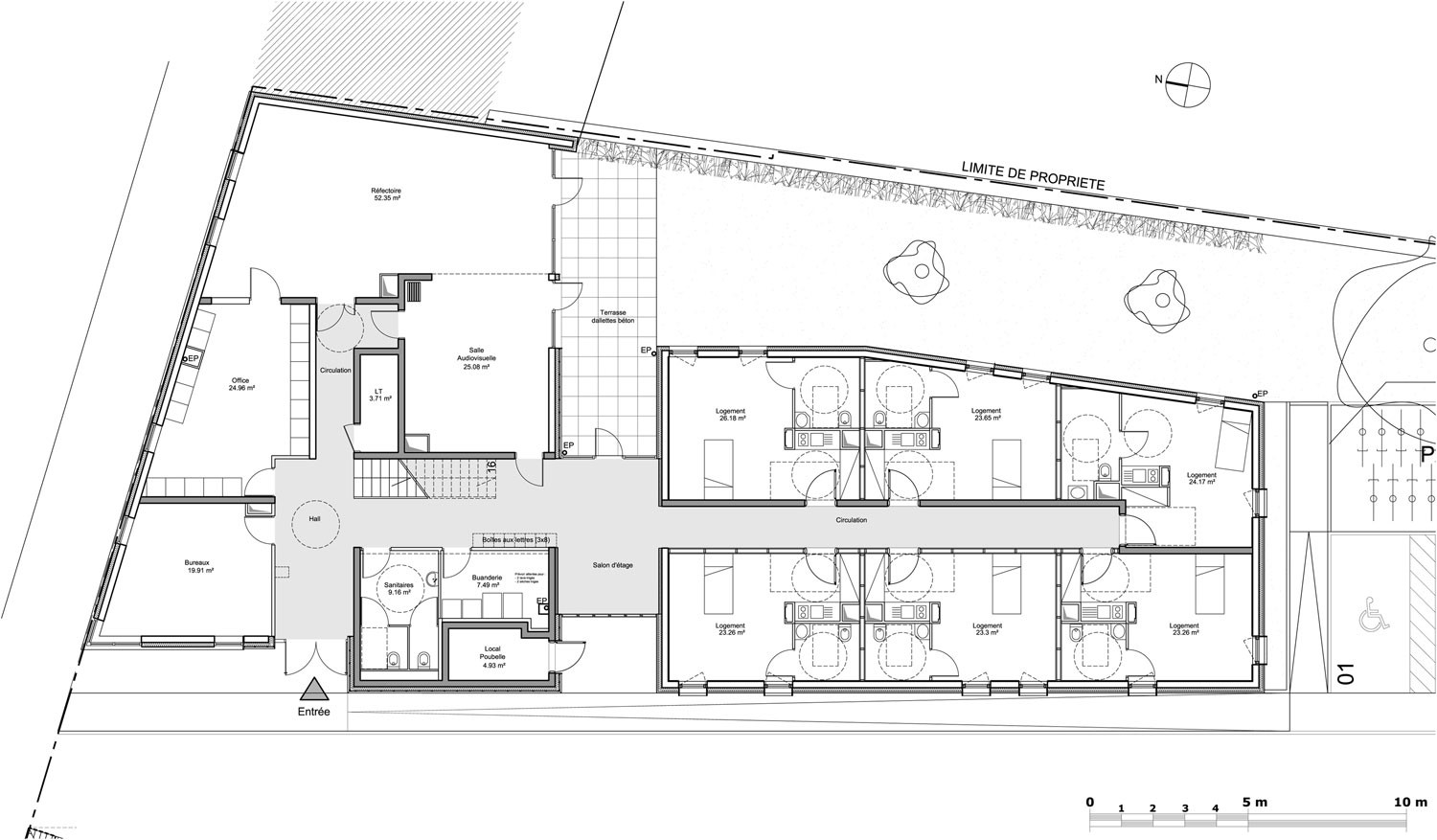 Gallery of 24 housing units zanon bourbon architects 13 Ground floor house plan