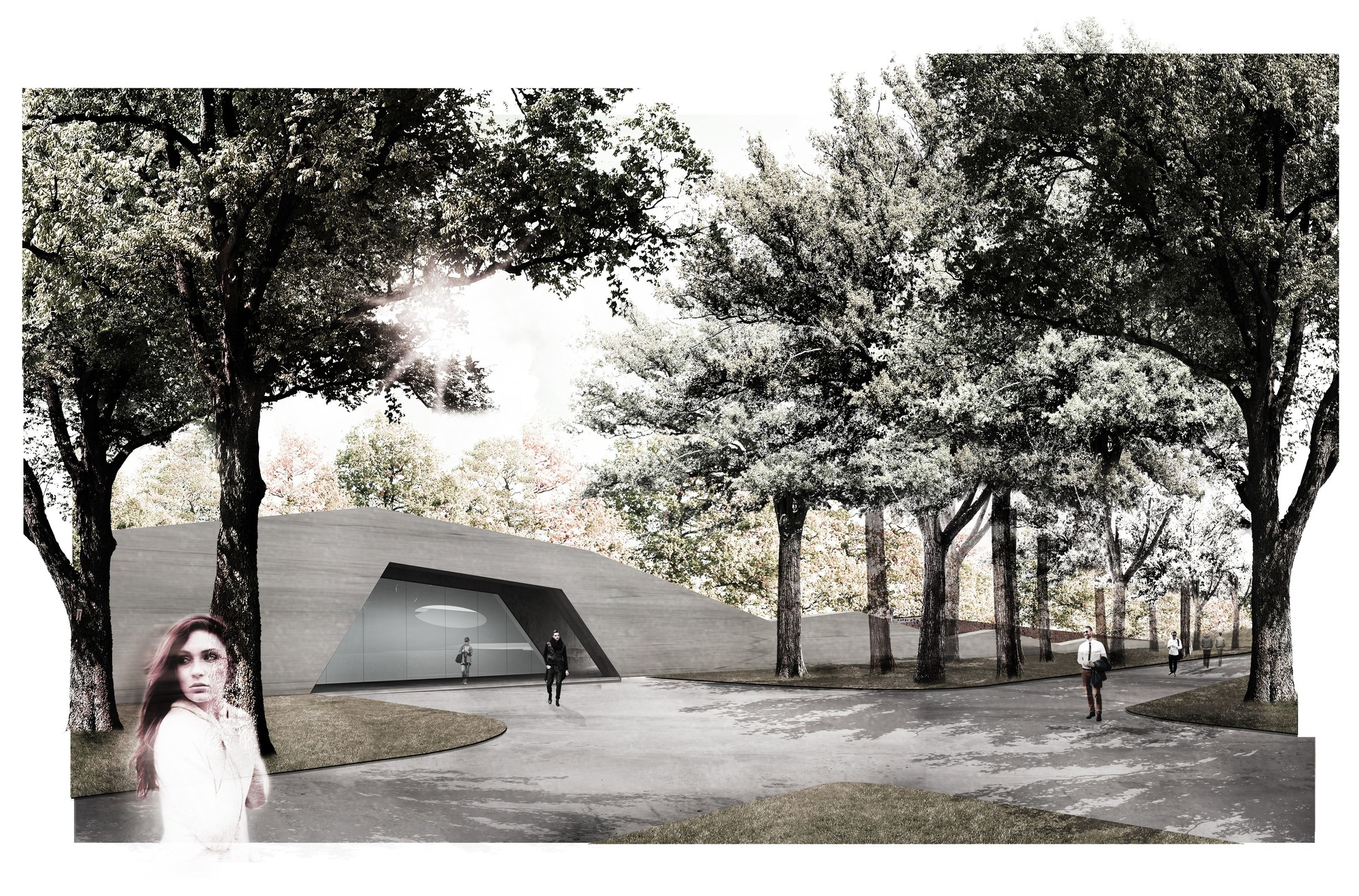 Mecanoo Wins Competition to Design Subterranean Museum in Warsaw, Entrance 2. Image Courtesy of Mecanoo