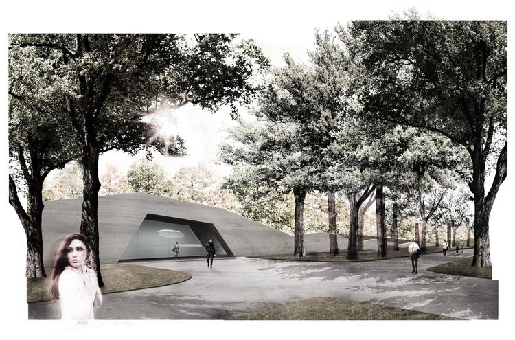 Mecanoo vence competição para projeto de museu subterrâneo em Varsóvia, Entrada 2. Cortesia de Mecanoo