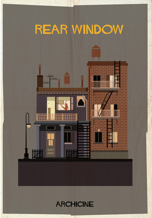 ARCHICINE: Illustrations of Architecture in Film , Rear Window. Directed by Alfred Hitchcock. Image Courtesy of Federico Babina