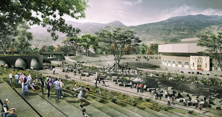 Segundo Lugar Concurso Público Internacional de Anteproyectos Parques del Río en la ciudad de Medellín, Zona Macarena. Image Cortesía de Equipo Segundo Lugar