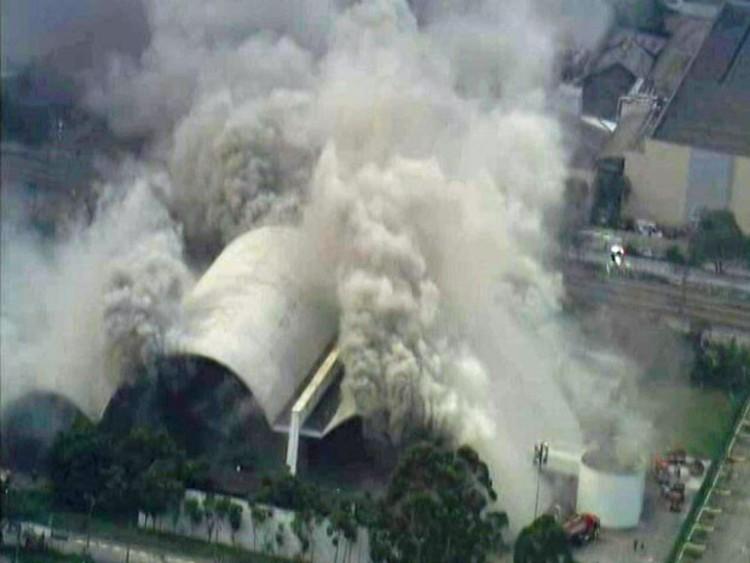 Incêndio no auditório do Memorial da América Latina , © (Foto: Reprodução/TV Globo)