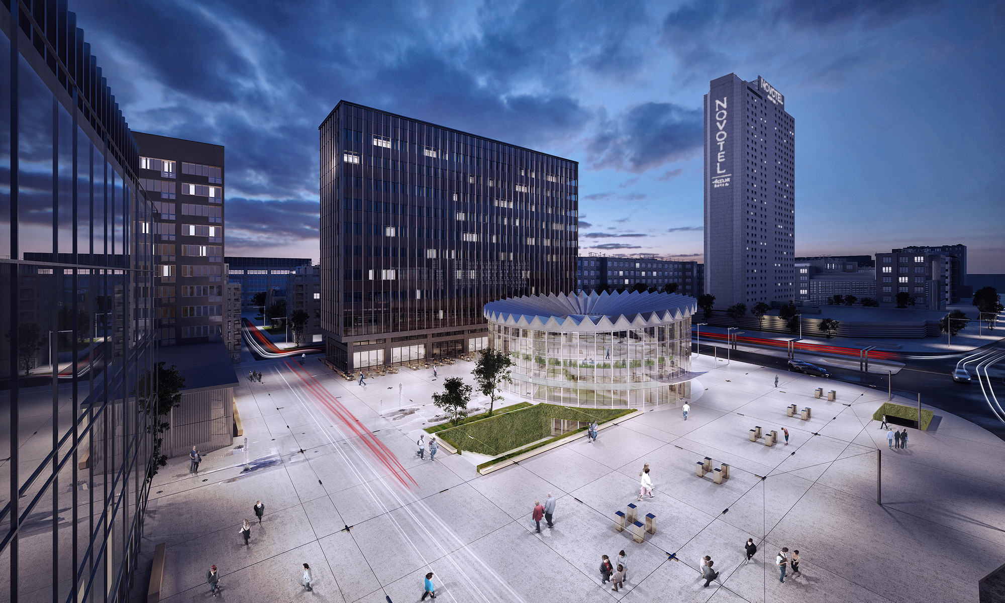 """GowinSiuta Studio Wins 2013 """"Changing the Face"""" Competition in Warsaw, Birds Eye View. Image Courtesy of GowinSiuta"""