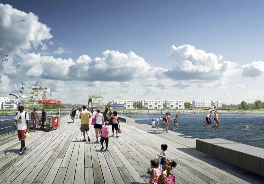 "Rockefeller Foundation Selects 33 Cities for Resiliency Challenge, White Arkitekter's winning proposal for New York's ""Resilient Rockaway"" competition."