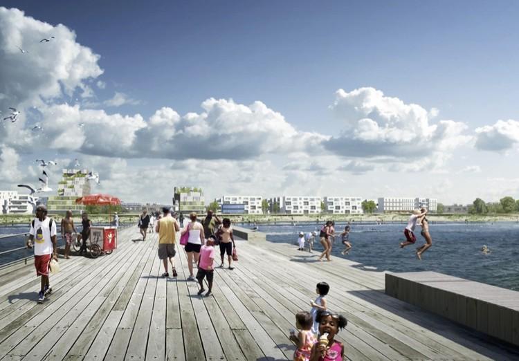 """Fundação Rockefeller seleciona 33 cidades para Desafio de Resiliência, Proposta vencedora do escritório White Arkitekter para a competição """"Resilient Rockaway"""" em Nova Iorque"""