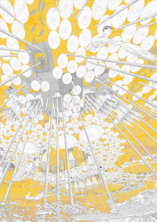 """The Magic Realist Novel"": Bees no longer harvest honey but ""liquid light,"" a highly valued zero-carbon energy source. Image © Viktor Westerdahl"