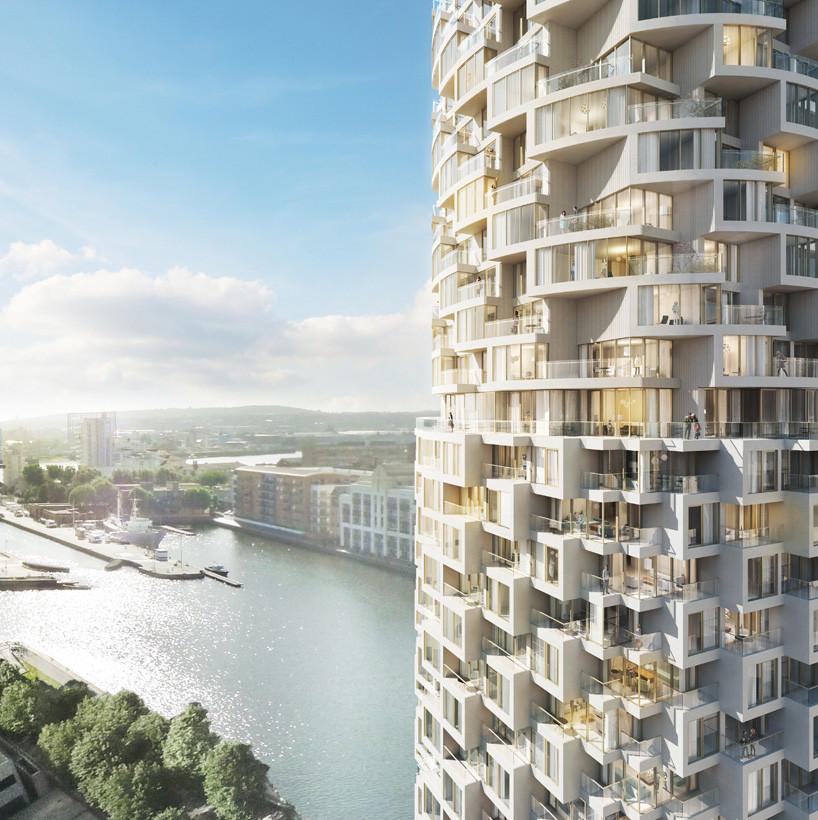 Herzog & de Meuron revela su nuevo Rascacielos para el Distrito de Negocios de Canary Wharf, en Londres, Torre Residencial de Herzog & de Meuron. Imagen Cortesía de Canary Wharf Group plc