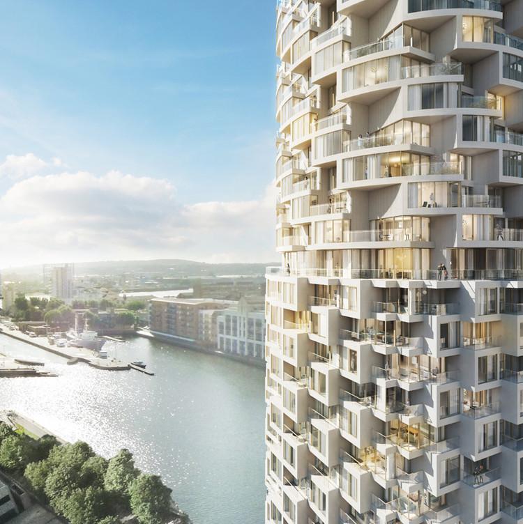 Divulgado o arranha-céu de Herzog & de Meuron para o empreendimento no New Canary Wharf , Torre residencial de Herzog & de Meuron. Cortesia de Canary Wharf Group plc